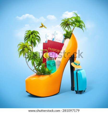 Tropical island in the women's shoe. Unusual travel illustration - stock photo