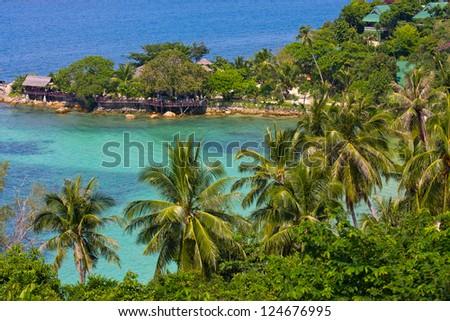 Tropical island Koh Phangan, Thailand. Top view. - stock photo