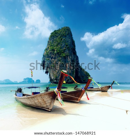 Tropical island landscape background. Thailand beach - stock photo
