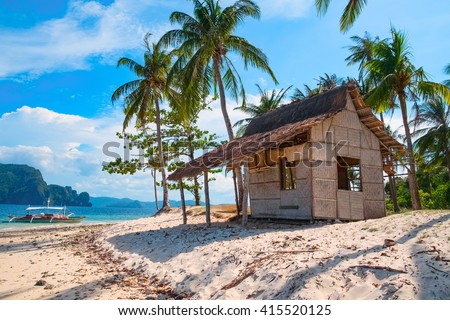 Tropical island landscape, Palawan, Philippines, Southeast Asia - stock photo
