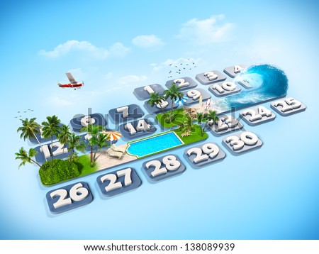 tropical island. One week at the calendar - stock photo