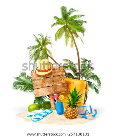 Tropical island. Unusual traveling illustration - stock photo