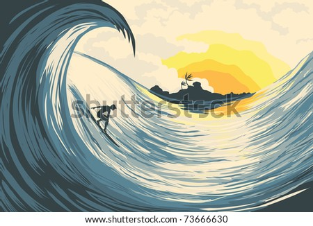 Tropical island wave and surfer  at sunset - stock photo