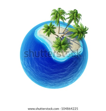 Tropical island with palms and empty ocean isolated. Mini planet concept. Travel and business concept. Earth collection. - stock photo