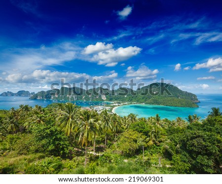 Tropical island with resorts - Phi-Phi island, Krabi Province, Thailand - stock photo