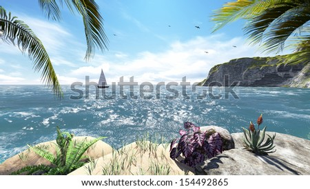 Tropical island with sea view