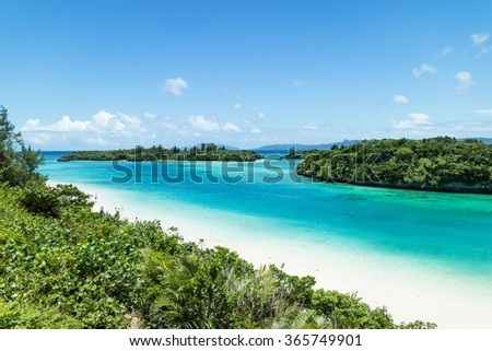 Tropical Japanese beach with clear turquoise lagoon water, Ishigaki Island National Park of the Yaeyama Islands, Okinawa - stock photo