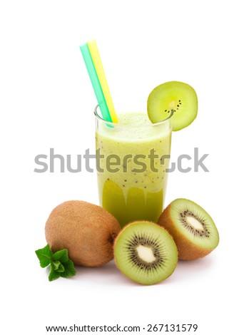 Tropical juice kiwi. Fresh juices and fruits on white background.  - stock photo