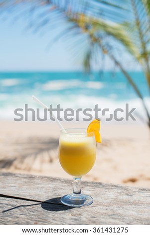 tropical juice on the beach