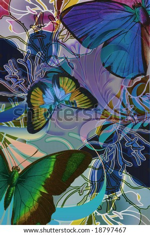 Tropical jungle illustration with butterflies and colorful lilly. - stock photo