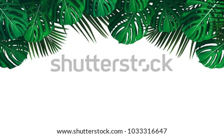Tropical Jungle Leaves Template Greeting Card Stock Illustration ...