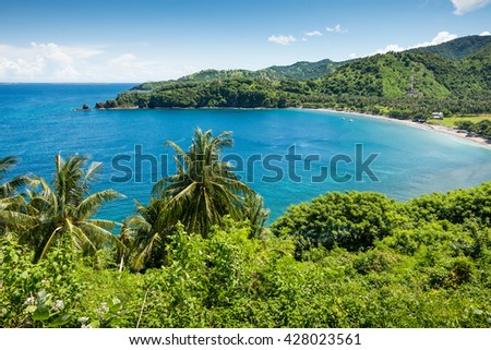 Tropical lagoon with clear water and beach with white sand and palm trees in a valley. Lombok island, Indonesia - stock photo