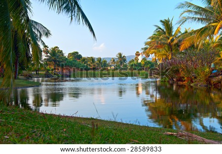 Tropical lake - stock photo