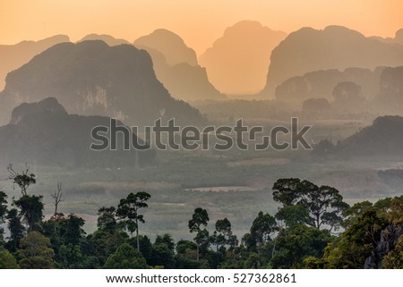 Tropical landscape at dusk, Krabi, Thailand