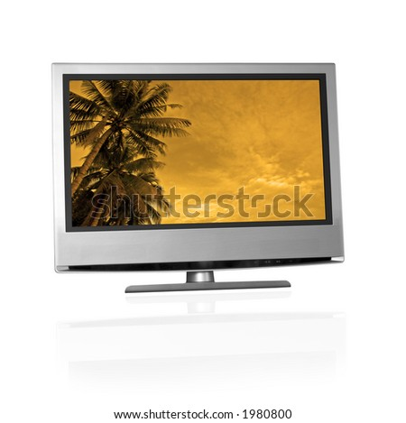 tropical landscape on flat screen tv