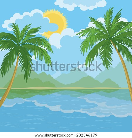Tropical landscape, palm trees, sea island and sky with clouds and sun.