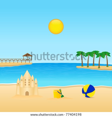tropical landscape. Vector available. - stock photo