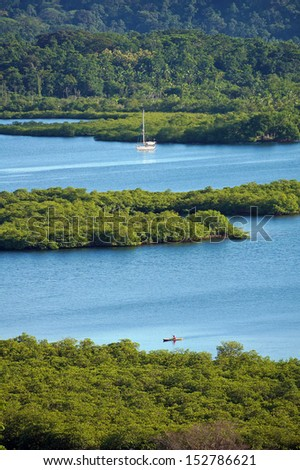 Tropical landscape with mangrove islets in the archipelago of Bocas del Toro,Caribbean sea, Panama - stock photo
