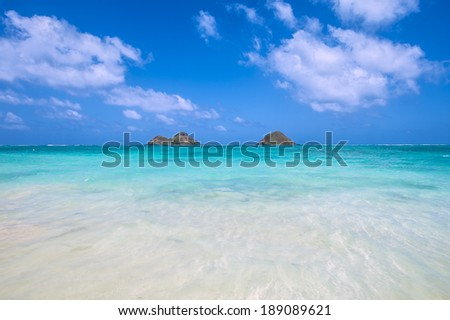 tropical Lanikai beach in Oahu Hawaii with two islands-4 - stock photo
