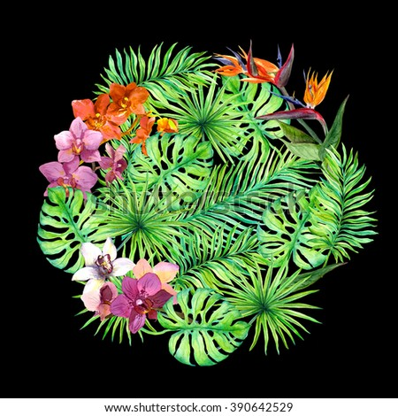 Tropical leaves and exotic flowers. Round background. Watercolor - stock photo