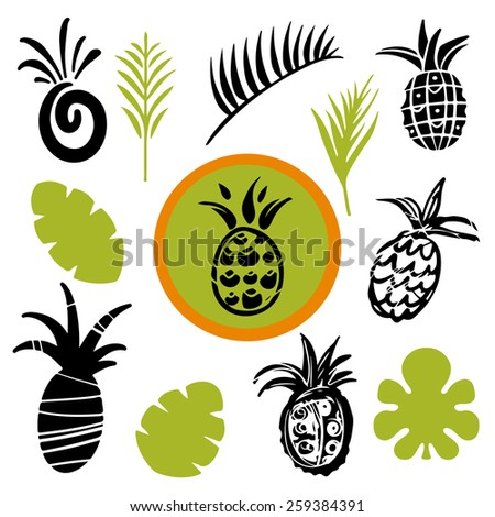 Tropical leaves and pineapples cartoon hand drawn illustrations set isolated on a white background, art logo design  - stock photo