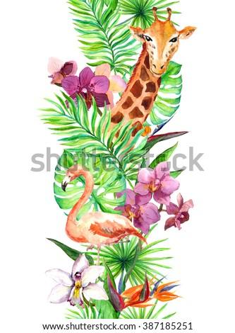 Tropical leaves, flamingo bird, giraffe, orchid flowers. Seamless border. Watercolor frame - stock photo