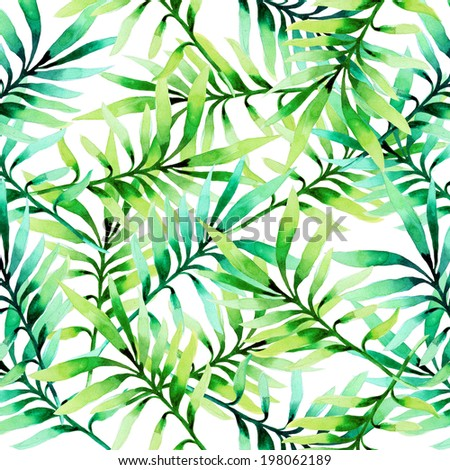 Tropical leaves of palm tree background - stock photo