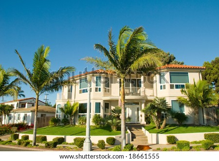 Tropical Luxury House With Palm Trees and Green Grass - stock photo