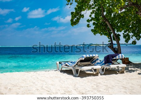 Tropical Maldives beach - Vacation Concept - stock photo