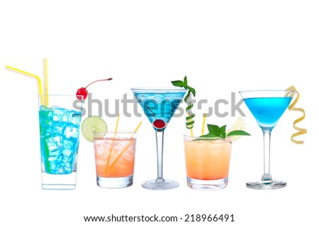 Tropical Martini cosmopolitan cocktails blue hawaiian and yellow margarita alcohol drinks isolated on a white background - stock photo