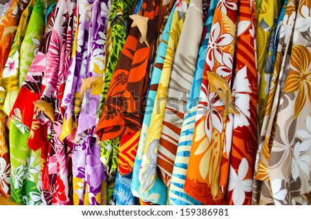 Tropical men shirts on display in the market.traditional clothing worn as a shirts by Polynesians and other Oceanic peoples. - stock photo