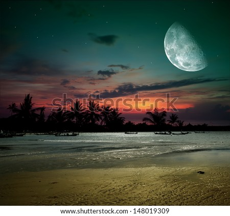 Beach Landscape With Fishermen: Beautiful Fantasy Tropical Beach Milky Way Stock Photo