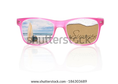 Tropical ocean in pink sunglasses isolated on white background, with reflection. Summer vacation and holiday concept. - stock photo