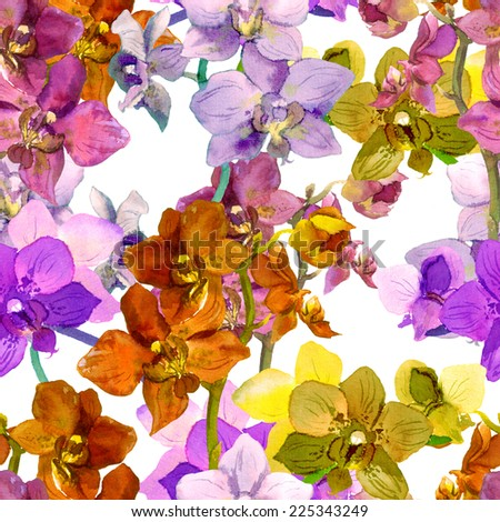 Tropical orchid flowers. Repeating floral pattern. Watercolour - stock photo