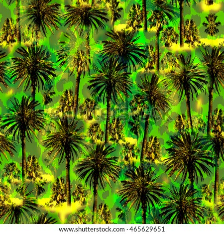 Tropical palm pattern. Exotic palm trees background. Artistic photo collage for print and design.