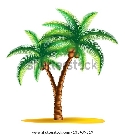 tropical palm tree standing on a small island.Rasterized illustration. Vector version in my portfolio