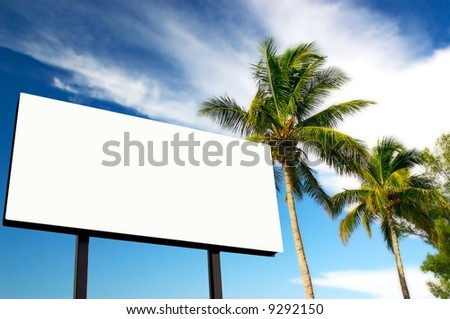 Tropical palm trees and a billboard in the late afternoon sun. The golden hour. Advertise your holiday specials! - stock photo