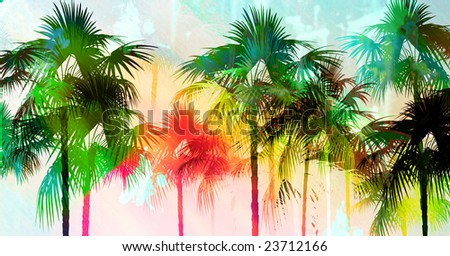 Tropical palmtree island scenic illustration with distressed rainbow coloring and dripping paint splatter effect. - stock photo