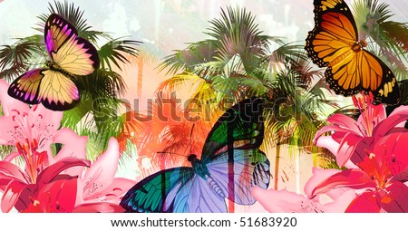 Tropical palmtree island scenic illustration with floating butterflies and dripping paint splatter effect. - stock photo