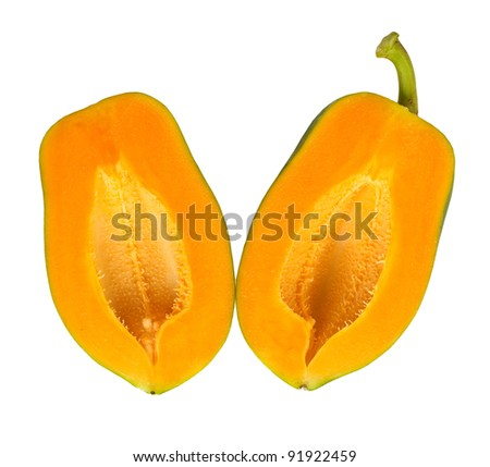 Tropical Papaya Halves Isolated on White - stock photo