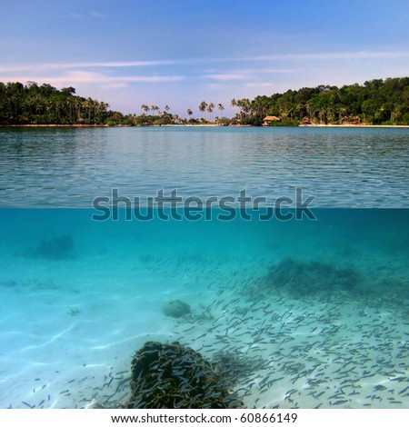 Tropical paradise and corals on a reef top, Koh Cahg island, Thailand - stock photo