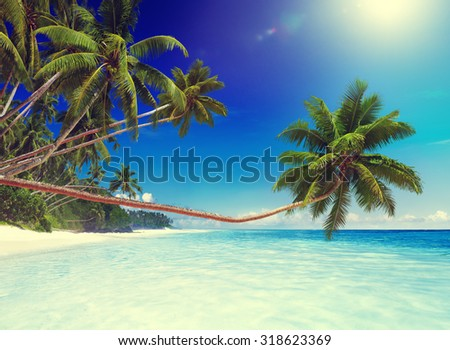 Tropical Paradise Beach Ocean Island Travel Vacation Concept - stock photo
