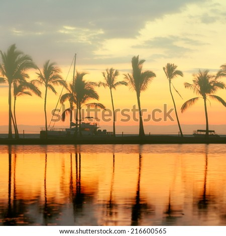 Tropical paradise beach sunset with palm trees. Summer travel holidays vacation getaway colorful concept photo from sea ocean water at Big Island, Hawaii, USA. - stock photo