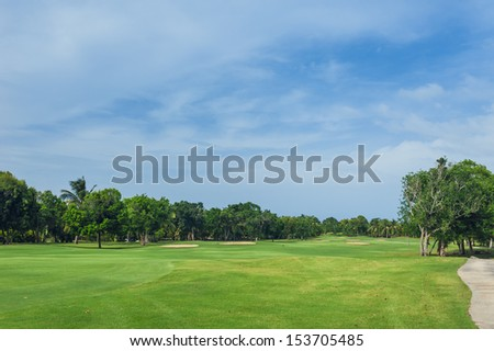 Tropical Paradise. Dominican Republic, Seychelles, Caribbean, a green tropical forest. Pathway in tropical park. Golf Course in Tropical Paradise. Summertime holyday in Dominican Republic - stock photo