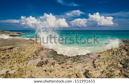 Tropical Paradise. Dominican Republic, Seychelles, Caribbean, Mauritius, Philippines, Bahamas. Relaxing on remote Paradise beach. - stock photo