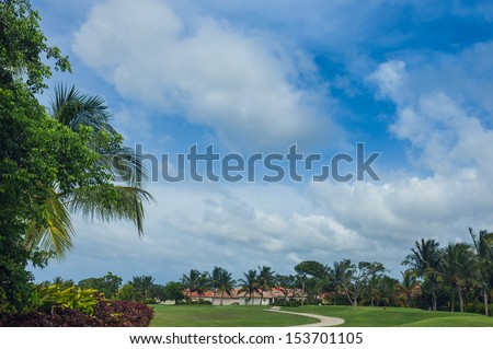 Tropical Paradise. Dominican Republic, Seychelles, Caribbean, Mauritius, Philippines, Bahamas. a green tropical forest. Pathway in tropical park - abstract travel background.