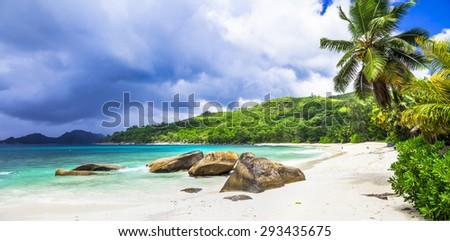Tropical paradise on Seychelles island. Mahe - stock photo