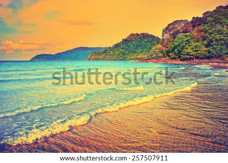 Tropical paradise. Seaside view of the tropical island. Summer travel background with retro vintage instagram filter. - stock photo