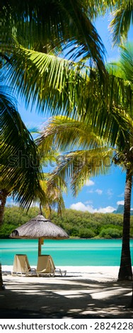 Tropical Paradise. Vertical panorama of sun beds on tropical white sand beach. - stock photo