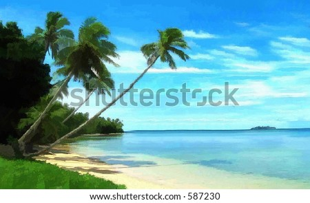 Tropical paradise with palm trees hanging over ocean and beach
